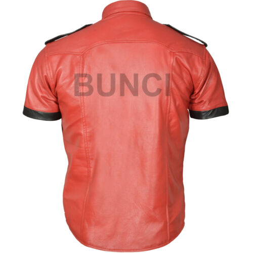 Shirt Uniform nbsp; Real Hot Leather White Half Lamb Men's Police Sheep Sleeve red wUfcO71q