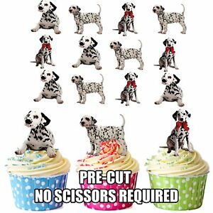 PRECUT-Dogs-Dalmatian-Puppy-12-Edible-Cupcake-Toppers-Birthday-Cake-Decorations