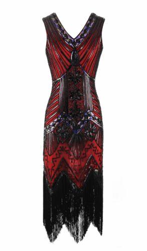 Womens 1920s V Neck Sequin Beaded Fringed Great Gatsby Dress Flapper Dresses