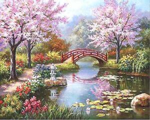 Peinture-par-Numeros-DIY-Peinture-Acrylique-Image-Art-Pont-sur-un-Lac