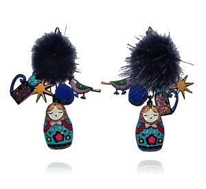 Ohrringe-Matrjoschka-lol-bijoux-bommel-katze-vogel-russische-puppe-blau