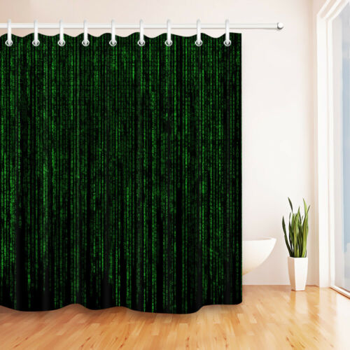 LB Computer Programming Code Waterproof Fabric Shower Curtain Liner /& 12 Hooks