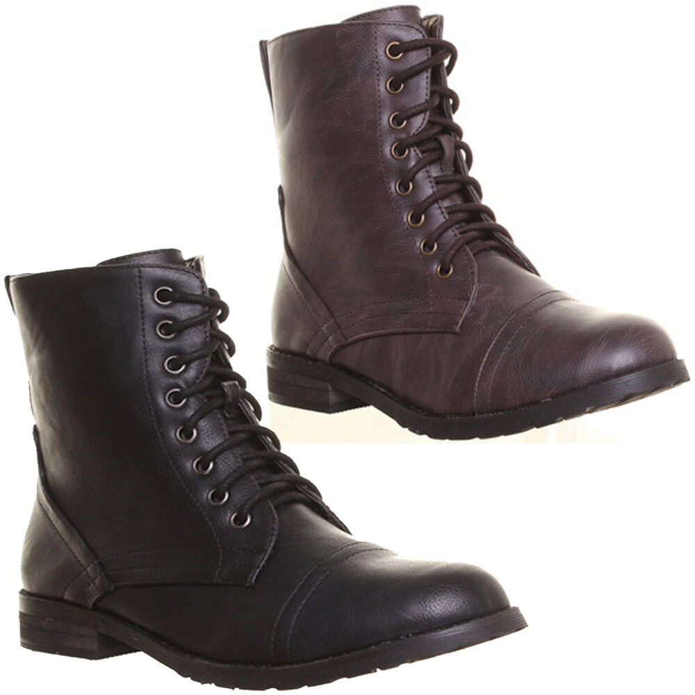 12546 Womens Lace up Combat Military Style Faux Leather Boot