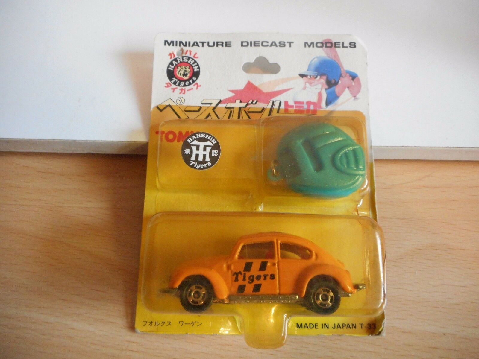Tomica VW Volkswagen Beetle  Hansin Tigers  in orange on Blister (made in Japan)