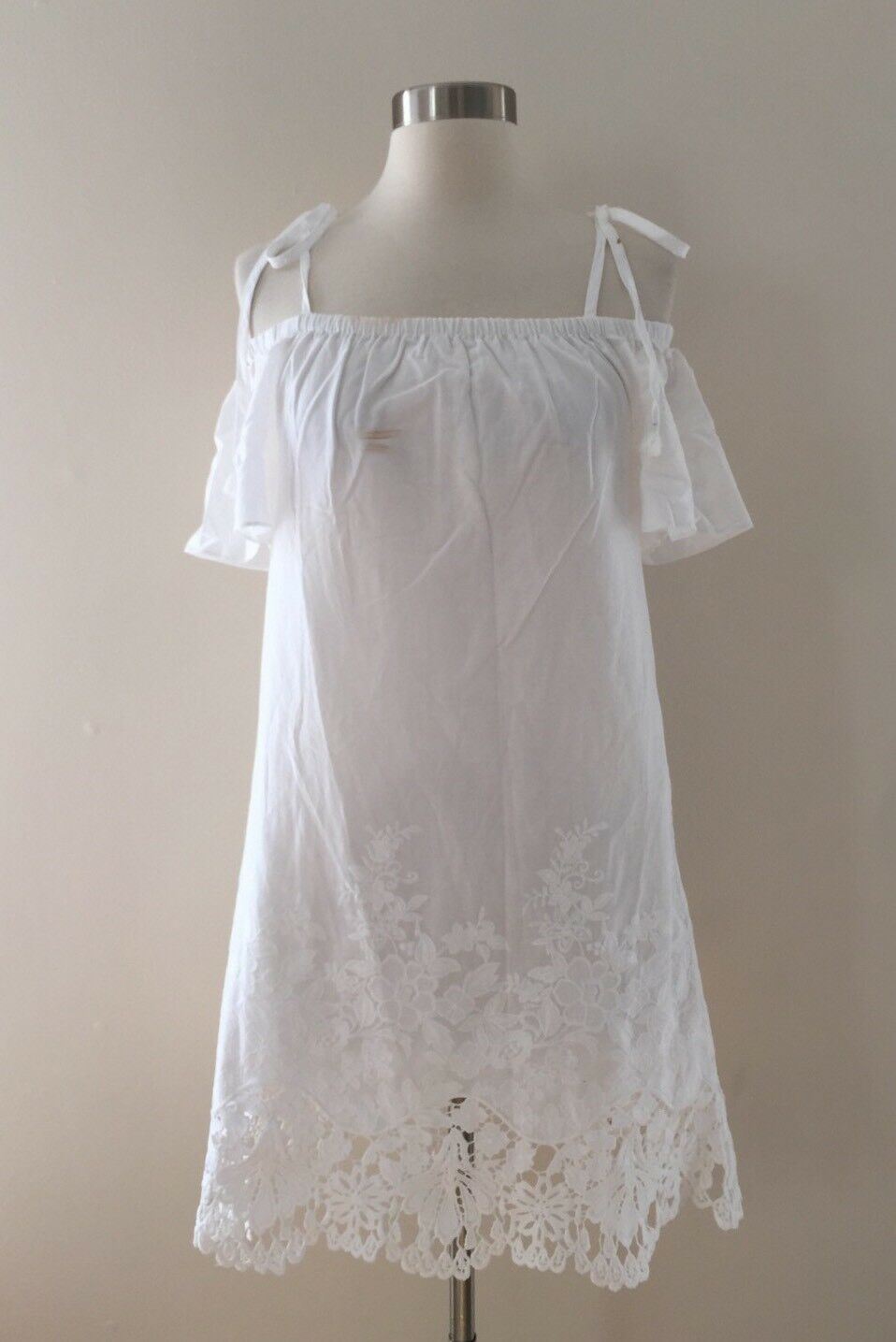 New Madewell JCREW Eyelet Cold-Shoulder Dress White Size XS G6075