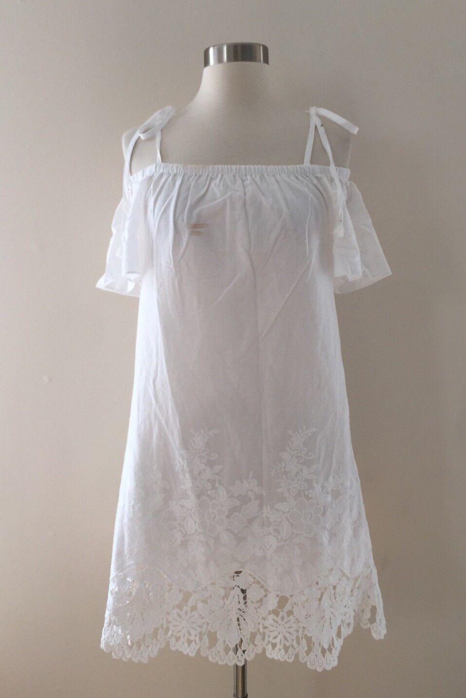 New Madewell JCREW Eyelet Cold-Shoulder Dress White Size XS G6075