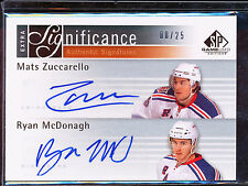 2011-12 SP GAME USED EDITION MATS ZUCCARELLO RYAN MCDONAGH AUTO 8/25 EXTRA SIG