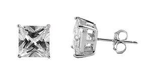 Sterling Silver Clear CZ Stud Earrings Square Princess Cut Rhodium Extra Strong