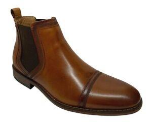 La-Milano-Antonio-Men-039-s-Slip-On-Cap-Toe-Tan-Leather-Dress-Chelsea-Boots-B51934