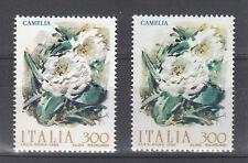 ITALIA VARIETA' DEI FIORI 1982 CAMELIA CON COLORE SFONDO CHIARO E FIORI DIVERSI