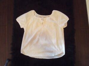Ann Taylor LOFT Women's White Short Sleeve  Blouse Size M A183