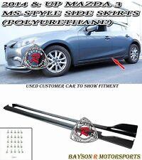 MS-Style Side Skirts (Polyurethane) Fits 14-17 Mazda 3 4/5dr
