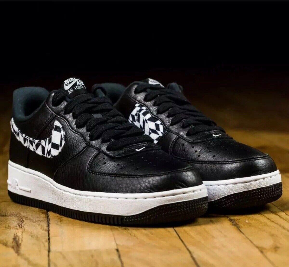 Nike Air Force 1 AOP Premium AQ4131 001 Black White Men SZ 10.5  Leather