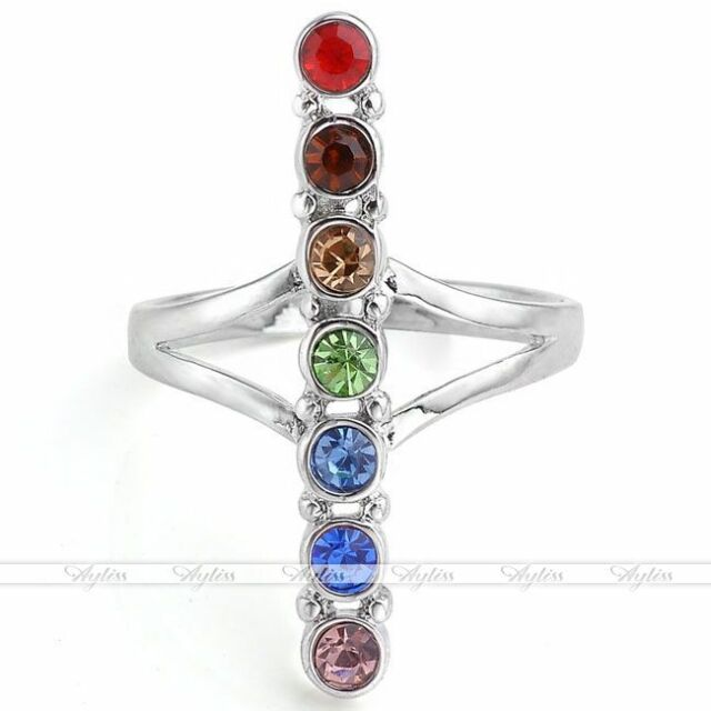 1pc Silvery Stick Crystal 7 Stone Reiki Chakra Healing Finger Ring Fashion Punk