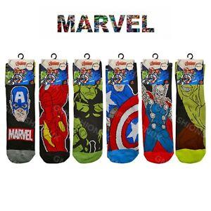Mens Official MARVEL COMICS AVENGERS HULK HEROES Character Ankle Socks Novelty