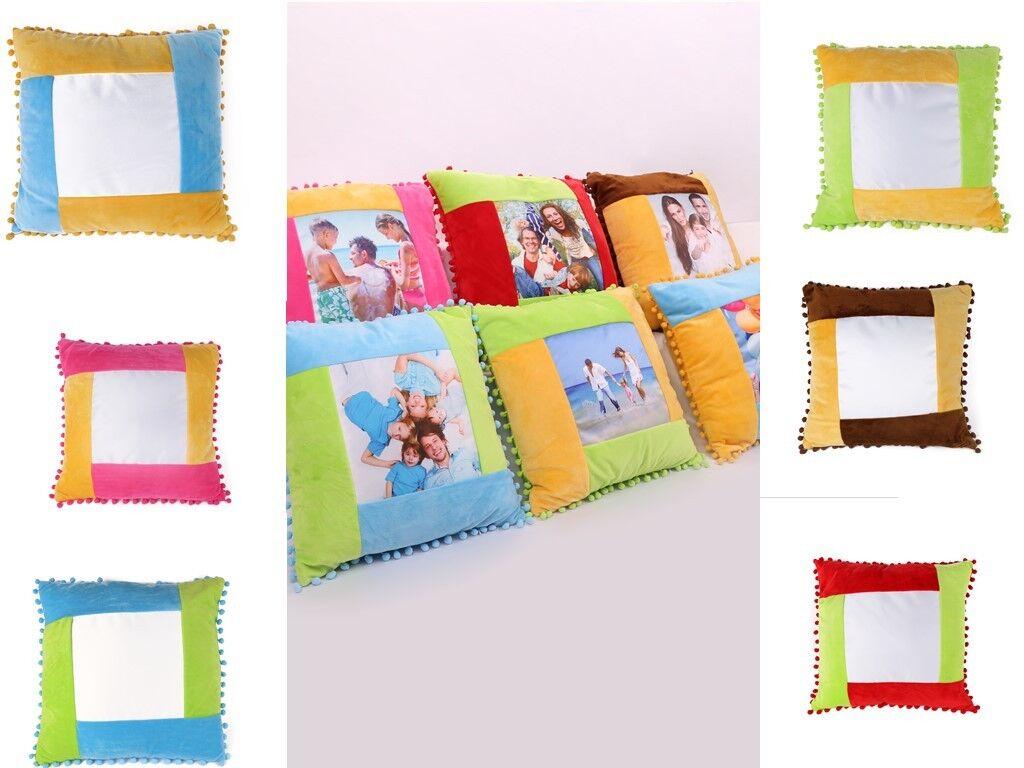 3D Sublimation Blanc Taie d'oreiller coutures couleur Soft Plush Pillow Cover 10PCS