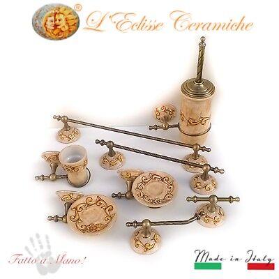 Accessori Bagno In Ceramica Decorata.Set Arredo Bagno 8 Pezzi In Ceramica Vietri Ed Ottone Cromato Fatta A Mano Italy Ebay