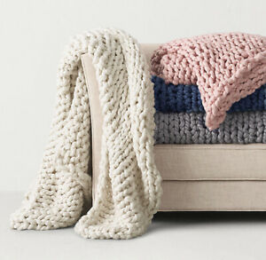 Luxe-Laine-Chunky-Cable-Knit-Tisse-a-la-main-Canape-Lit-Fauteuil-Blanket-Throw