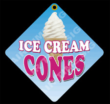 Ice Cream Cones Diamond Concession Sign Trailer Stand 12 X 12 2 Sided