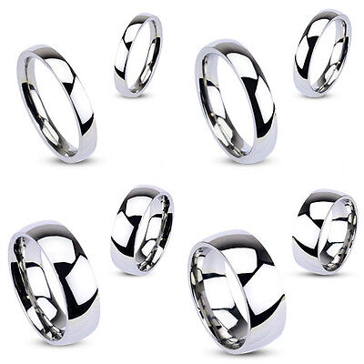 Stunning Men's Women's Stainless Steel Glossy Mirror Polished Wedding Band Ring