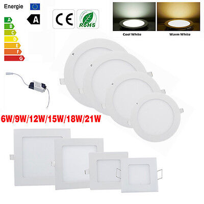 Dimmable 6W 9W 12W 15W 18W 21W LED Recessed Ceiling Panel Light Fixtures Ampoule
