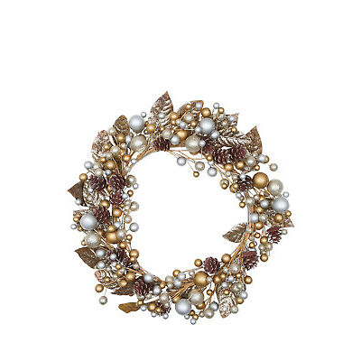 NEW Vue Luxe Berry Pinecone Wreath - Gold