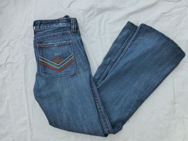 WOMENS CALIFORNIA VINTAGE LOW RISE JANE BOOTCUT JEANS PATCHES SIZE 27x31  W3047
