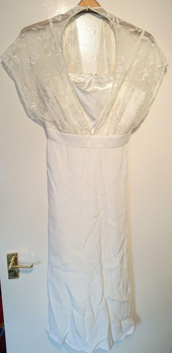 Monsoon Summer Ivory Bead Embellished Dropped Shoulder Party Dress Größe 12 Bnwt