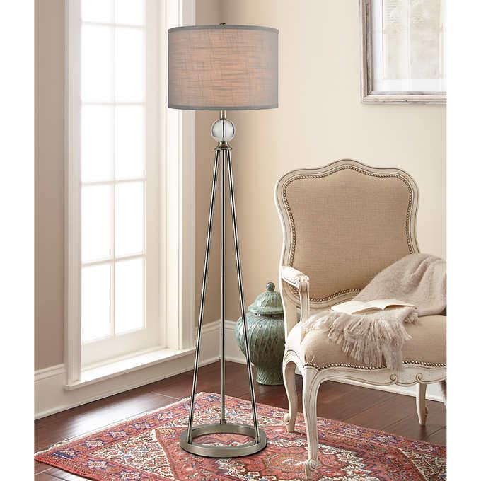 Bouche Crystal Floor Lamp By Bridgeport Designs, Dark Brushed Steel Base, PRE