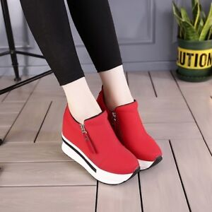 Women-039-s-Ankle-Boots-Shoes-Wedge-Heel-Trainers-High-Top-Casual-Sneakers-Zip-New