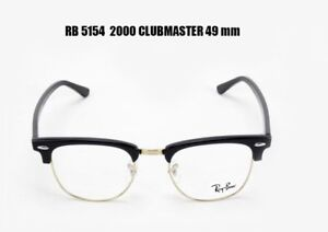 2b053333e0 Details about Ray Ban RX 5154 2000 Clubmaster Eyeglass Frames Black Silver  49 mm