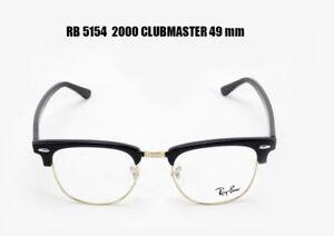 a6f749f6a0a Ray Ban RX 5154 2000 Clubmaster Eyeglass Frames Black Silver 49 mm ...
