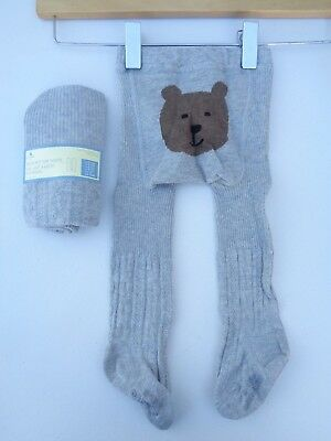 NWT GAP Cable Knit Bear Tights Bear Face Soft Bottom Brown Baby 12 24 months