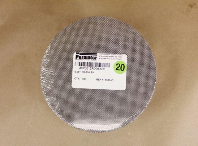 "100 Purolator 6.56/"" Round 40 Mesh 381µ Stainless Steel Wire Cloth Filter Screens"