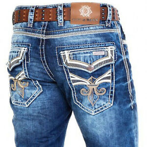CIPO-amp-BAXX-PRINCETON-MENS-JEANS-DENIM-THICK-STITCH-STRAIGHT-CUT-ALL-SIZES