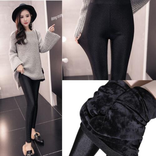Womens Warm Cotton Fleece Pants Plus Size Skinny Stretch High Waist Slim Legging