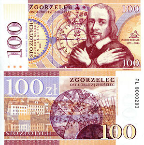 Details about POLAND 100 Zlotych Fun-Fantasy ART Note 2018 Private Issue  Currency Jakob Bohme