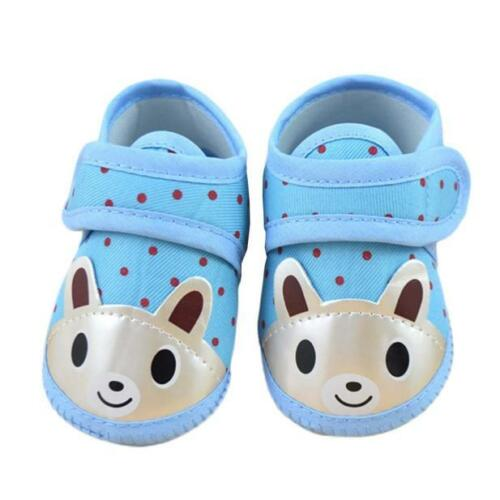 Newborn Kids Baby Girls Soft Sole Crib Shoes Canvas Cartoon Prewalker Sneakers