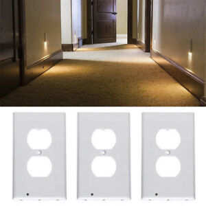 Creative plug cover wall outlet cover led night lights hallway image is loading creative plug cover wall outlet cover led night mozeypictures Image collections