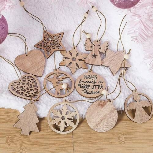 12PC Christmas Snowflakes Wooden Pendants Xmas Tree Ornaments Home Hanging Decor