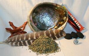Abalone-Shell-JUNIPER-NEEDLES-Charcoal-Tablets-4-034-Wood-Stand-Smudging-Feather