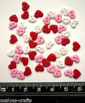 MICRO VALENTINE HEARTS Novelty Craft Buttons Wedding Love Small Mini Red White