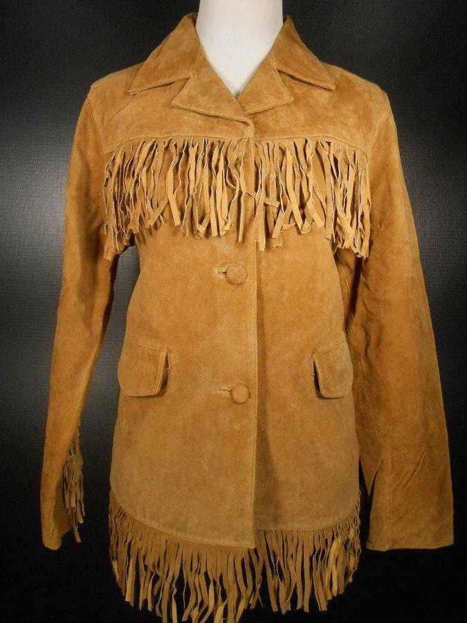 Beautiful Women's Medium No Brand Beige Leather Suede Fringe Design Button Coat