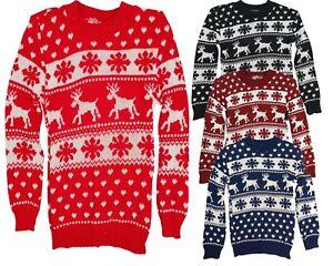 New-Girls-Boys-Christmas-Reindeer-Snowflake-Knitted-Kids-Xmas-Jumper-Sweater-Top