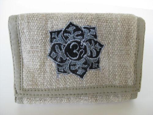 OM Mandala Chanvre Wallet ~ Tri-Fold durable ~ Tibetan Art Bouddhiste broderie