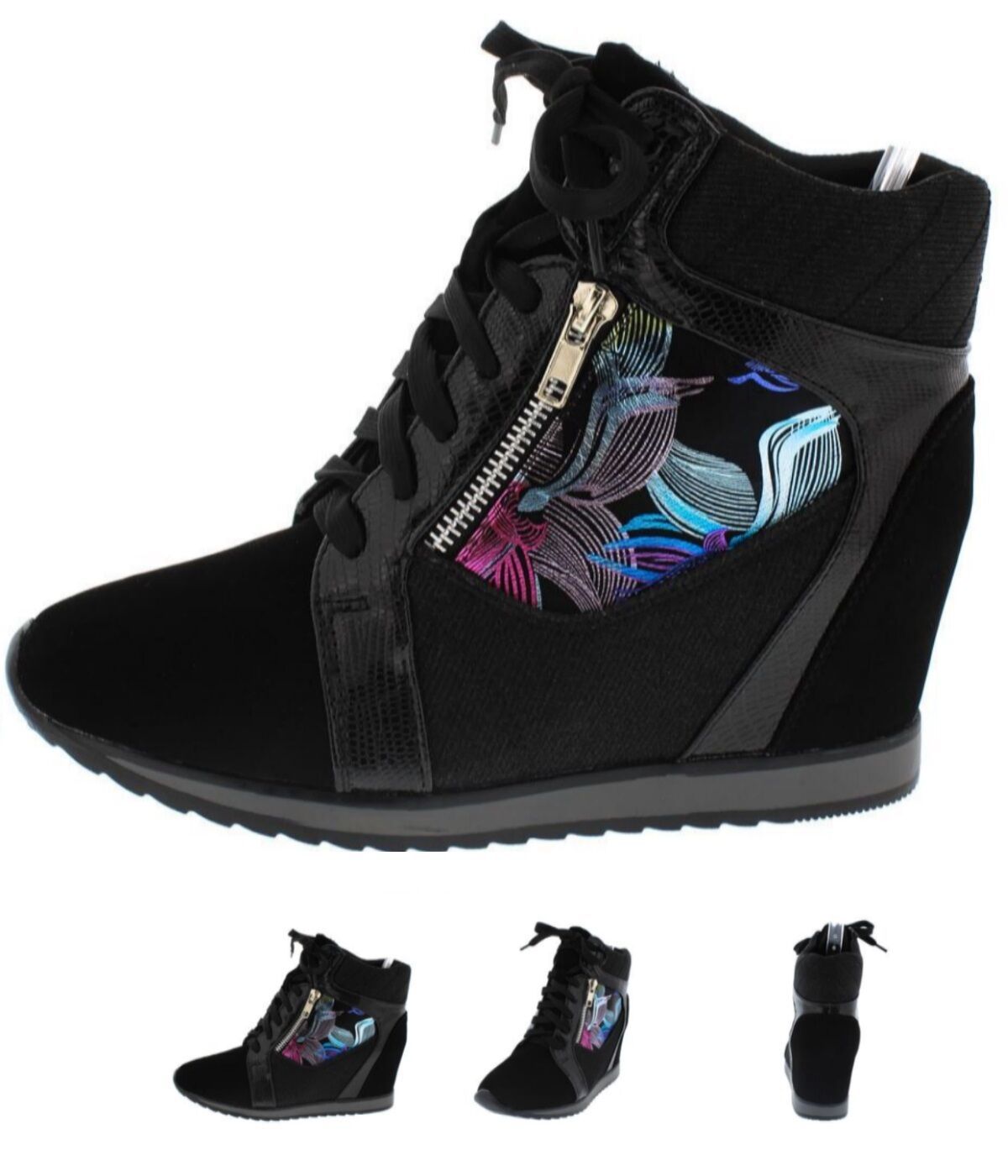 Women Fashion shoes High Top Ankle Boots Wedge Lace Up Sneakers Hidden Heels S15