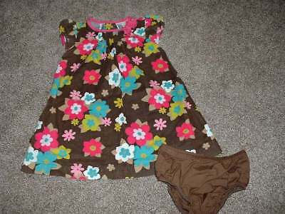 Carter's Baby Girls Brown Pink Floral Dress Set Size 18M 18 Months EUC 12-18 mos