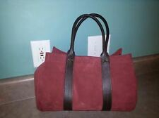 ~TANNER~ Medium Sized Burgundy Tote Suede Handbag Purse ITALY