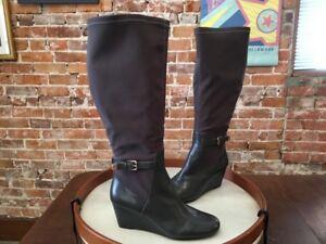 6dc3e523f06d5 Isaac Mizrahi Grey Leather Stretch Krystal Wide Calf Wedge Boots 11 ...