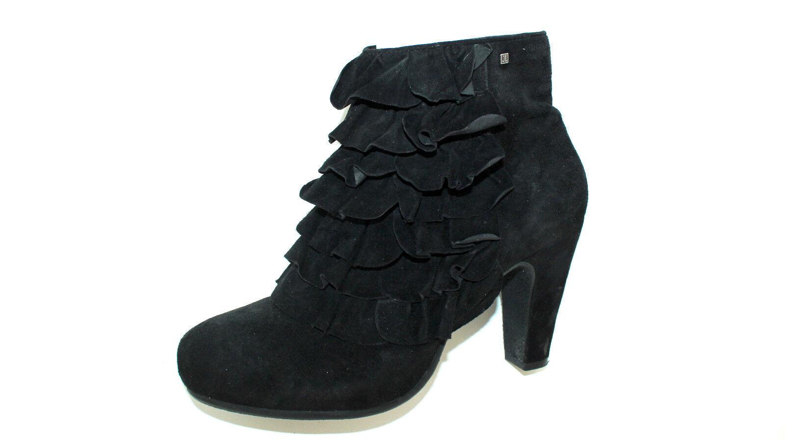 JETTE JOOP schwarze Ankle Stiefel Stiefeletten Rüschen 40 UK 6,5 Wildledersoft TOP    Sale Düsseldorf